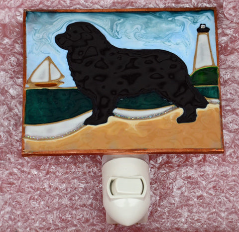 """Stained Glass Black Newfoundland Night Light"""