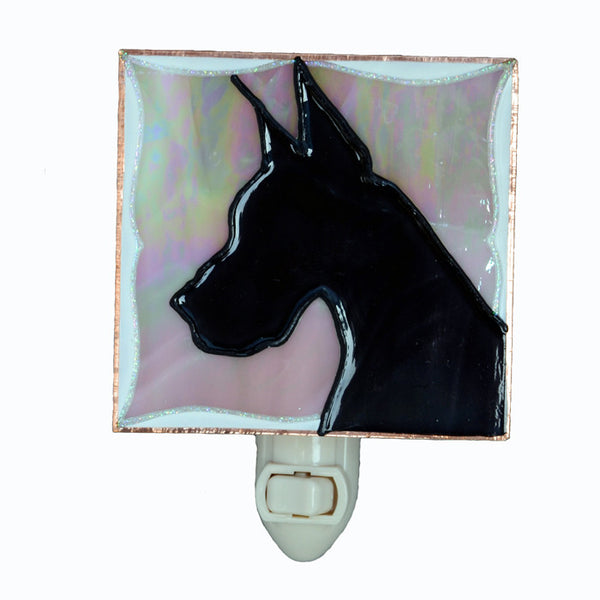 """Stained Glass Great Dane Night Light"" - Black Dane, w/peach background"
