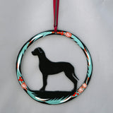 Hand Painted Great Dane Metal Ornament - Black
