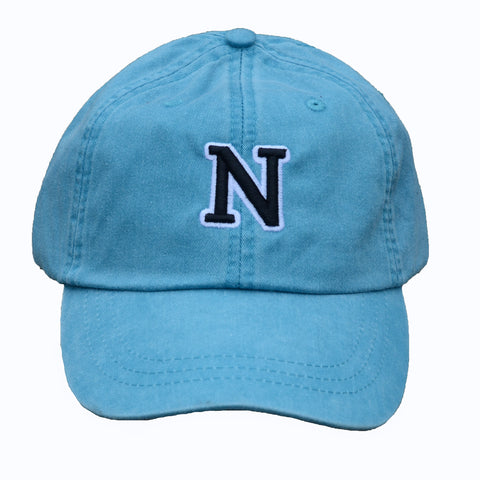 N (for newf), embroidered cap - blue & black/white