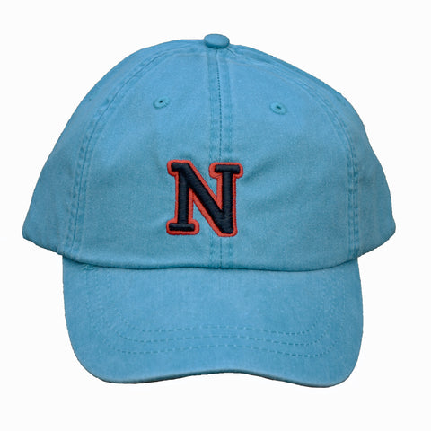 N (for newf), embroidered cap - blue & black/red
