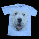 """Great Pyrenees Big Face T-shirt"" - Light Blue"