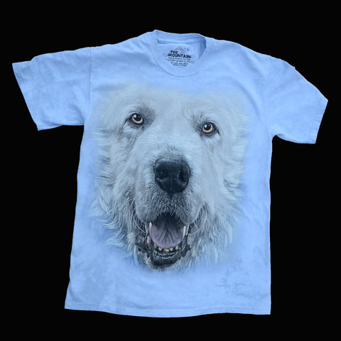"""Great Pyrenees Big Face T-shirt in Adult Sizes"" - Light Blue"