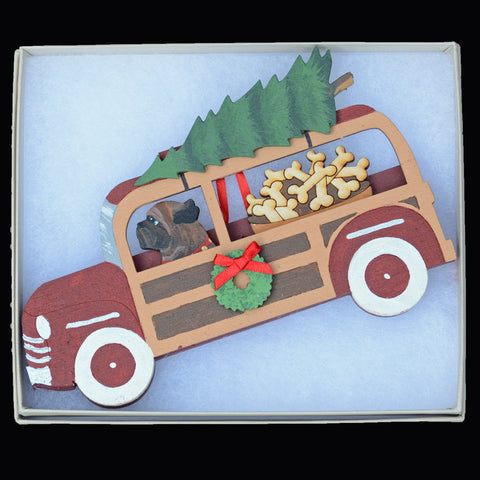 Holiday Red Woody Wagon Bullmastiff Ornament - Brindle
