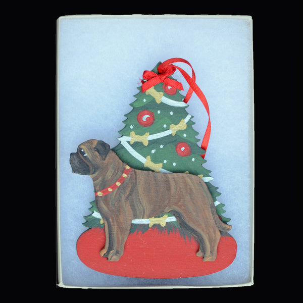 Decorated Tree & Bullmastiff Ornament - Brindle