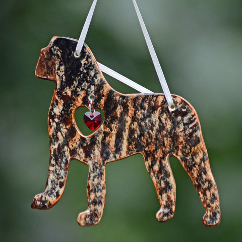 """Porcelain Mastiff Ornament"" - Brindle"