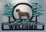 Hand Painted Mastiff Welcome Sign - Brindle