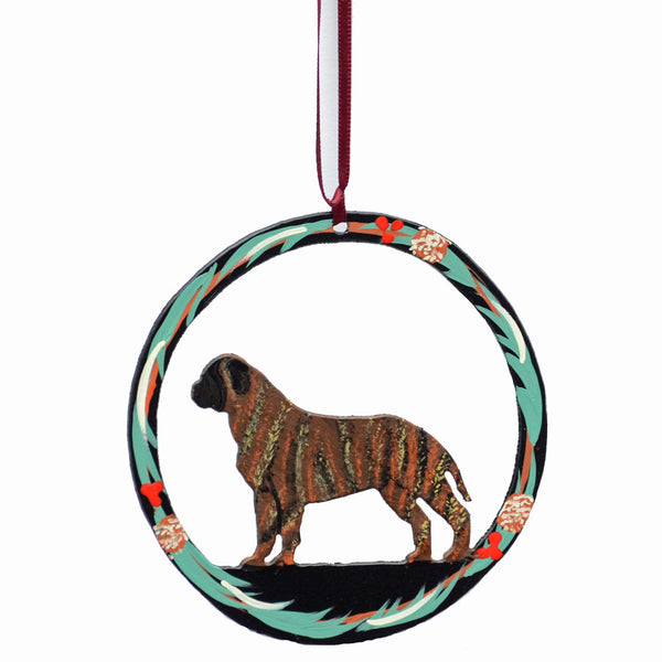 """Hand Painted Bullmastiff Metal Ornament"" - Brindle"