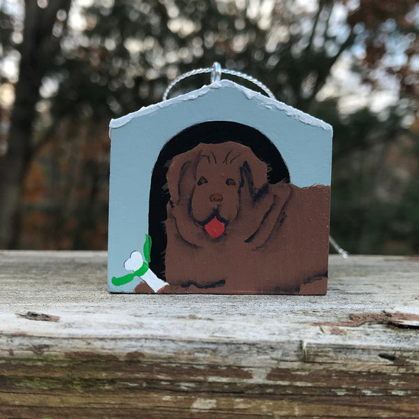 """Hand painted doghouse ornament - Newfoundland, Brown"""