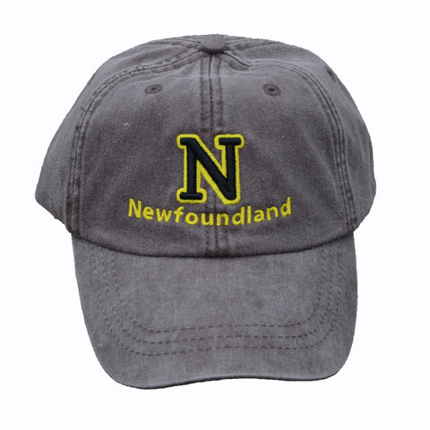 N (for newf), embroidered cap - charcoal & black/yellow