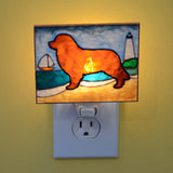 """Stained Glass Brown Newfoundland Night Light"""