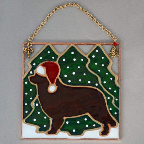 Stained Glass Brown Newf Ornament with Trees