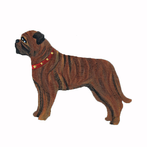Hand Painted Wooden Bullmastiff Magnet - Brindle