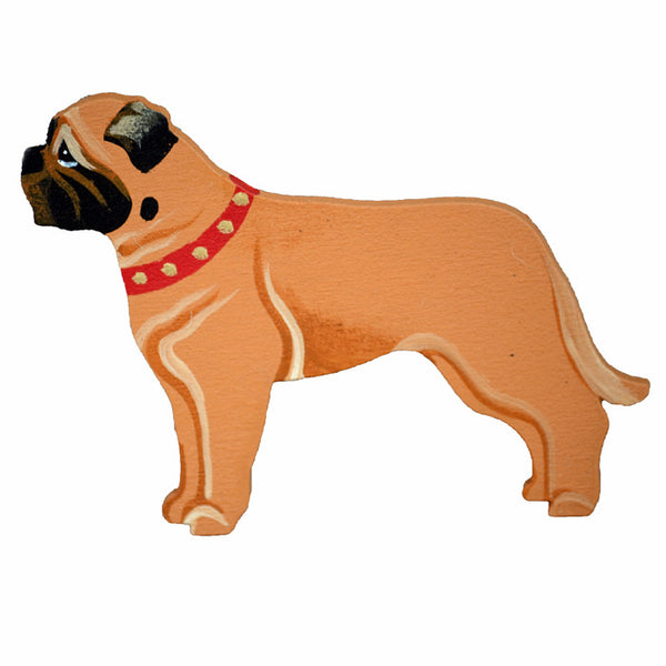 Hand Painted Wooden Bullmastiff Magnet - Fawn