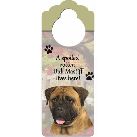 Bullmastiff Wooden Doorknob Sign