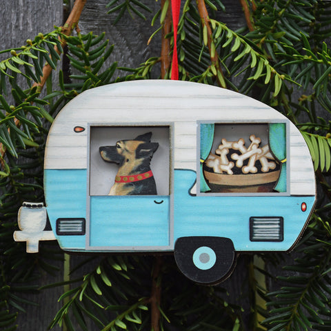 Retro Trailer with German Shepherd Ornament