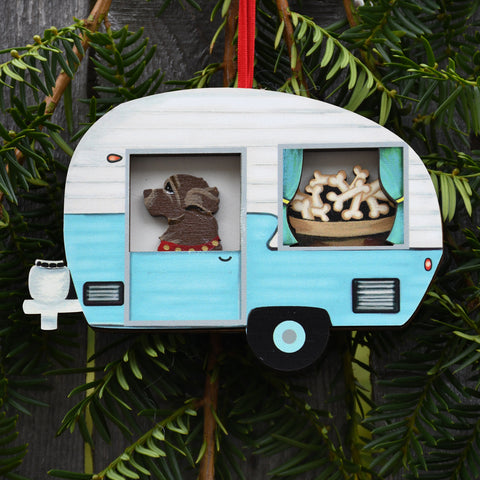 Retro Trailer with Brown Newf Ornament