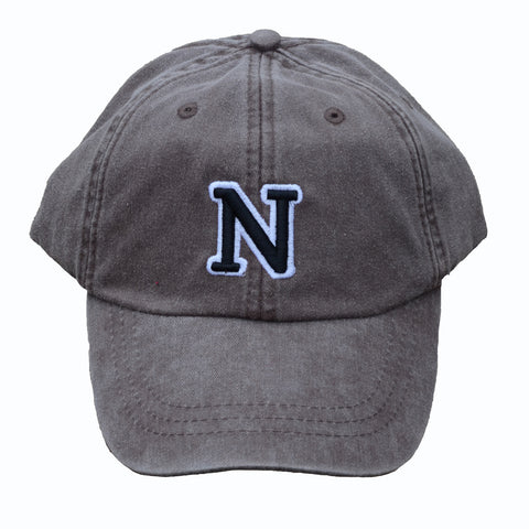 N (for newf), embroidered cap - charcoal & black/white