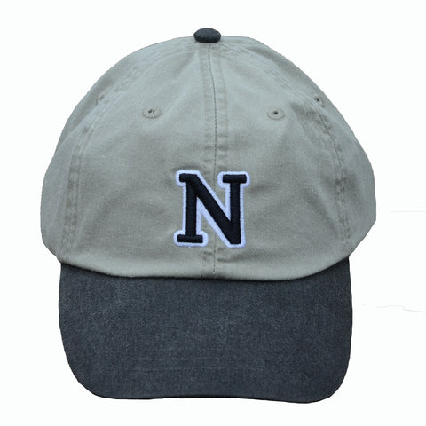 N (for newf), embroidered cap - stone & black/white