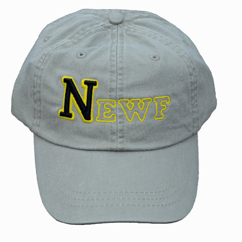 NEWF, embroidered cap - stone & black/yellow