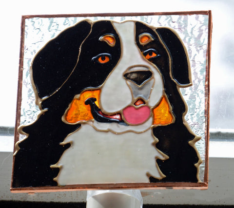 """Stained Glass Bernese Head Night Light"""