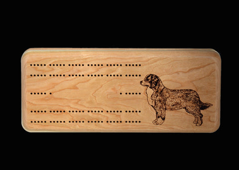 Cherry Cribbage Box with Engraved Bernese Mountain Dog