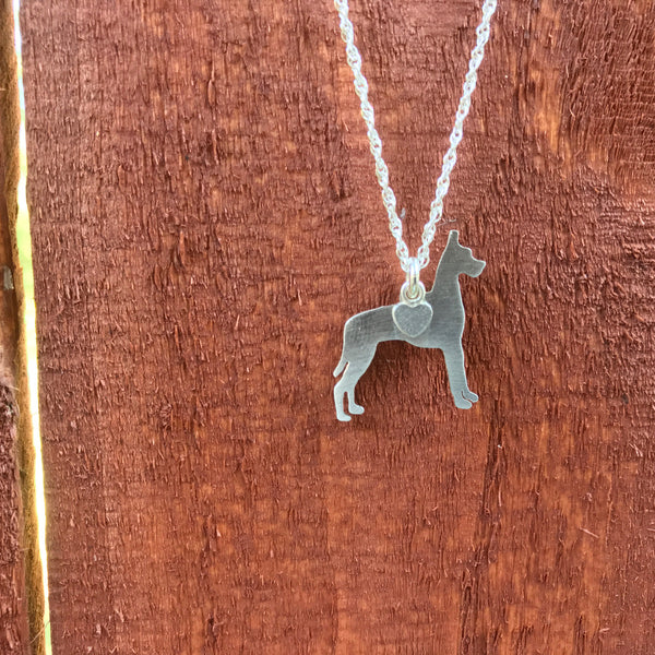 """Sterling Silver Great Dane Pendant and 18"" Chain"""