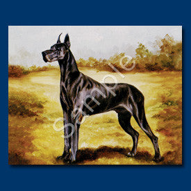 Great Dane Black Blank Note Cards