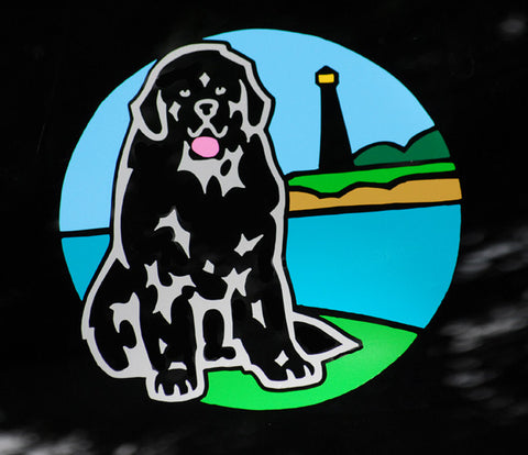 Newf & Lighthouse - Full Color Decal For Tinted Glass