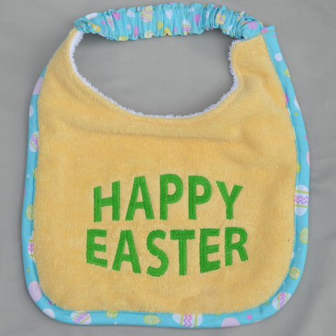 """Happy Easter, Drool Bib"" - yellow and green"