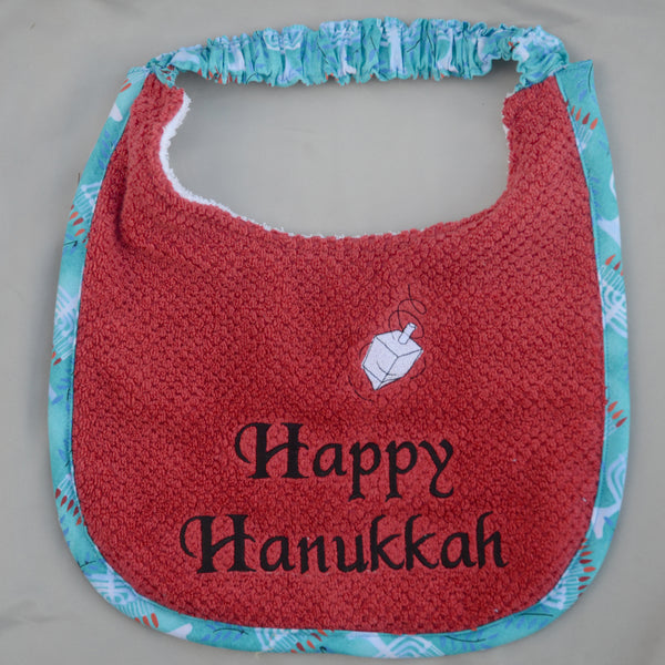 happy hanukkah, Drool Bib - red & black