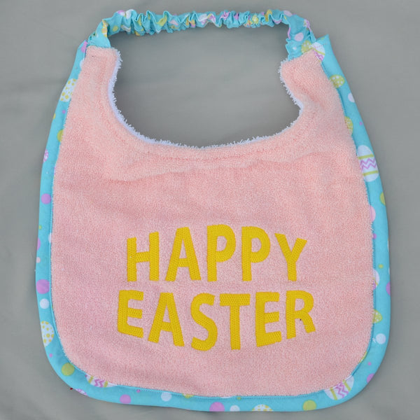 Happy Easter, Drool Bib - pink and yellow