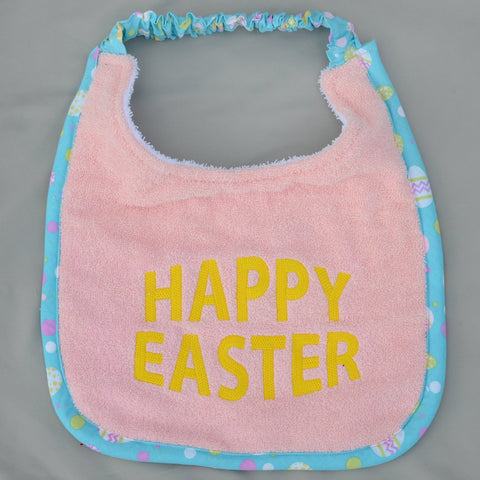 """Happy Easter, Drool Bib"" - pink and yellow"