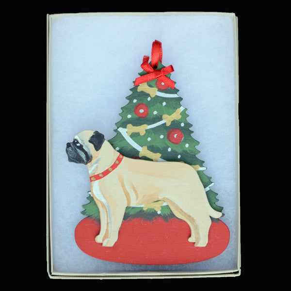 Decorated Tree & Bullmastiff Ornament - Fawn