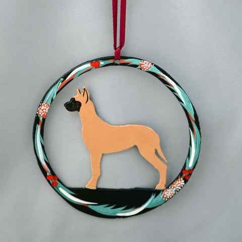 Hand Painted Great Dane Metal Ornament - Fawn