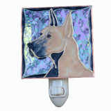"""Stained Glass Great Dane Night Light"" - Fawn Dane, w/clear background"