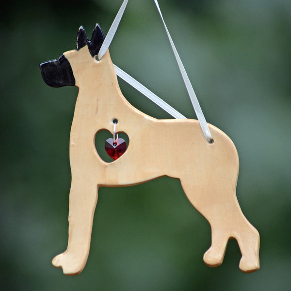 """Porcelain Great Dane Ornament"" - Fawn"