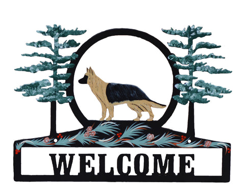 """Hand Painted German Shepherd Welcome Sign"""