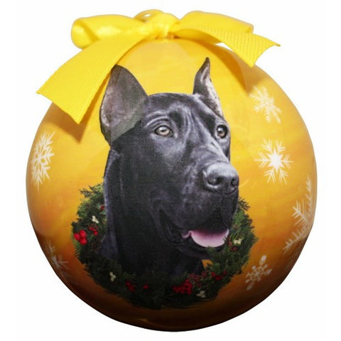 Full Color Great Dane Ball Ornament - Black
