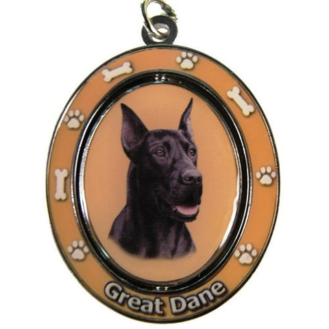 Spinning Great Dane - Black, Keychain