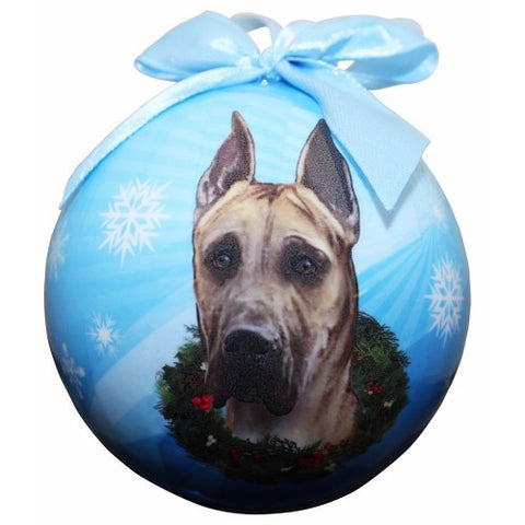 """Full Color Great Dane Ball Ornament"" - Fawn"