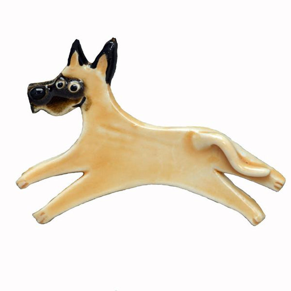 Ceramic Great Dane Pin - Fawn