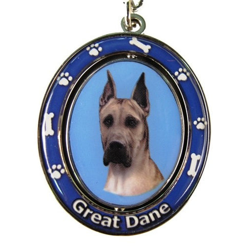 Spinning Great Dane - Fawn, Keychain