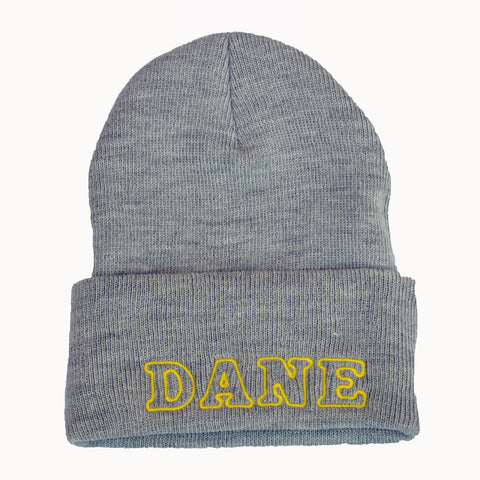 Adult Knit Beanie - DANE, gray & yellow