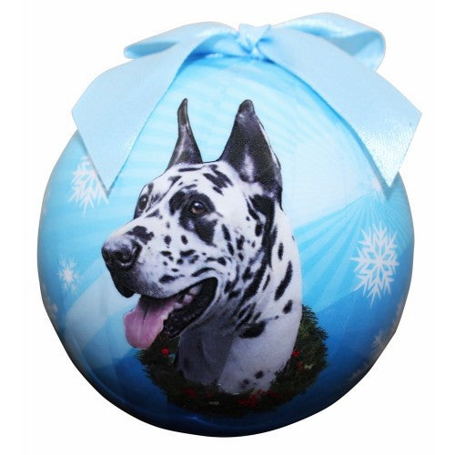 Full Color Great Dane Ball Ornament - Harlequin