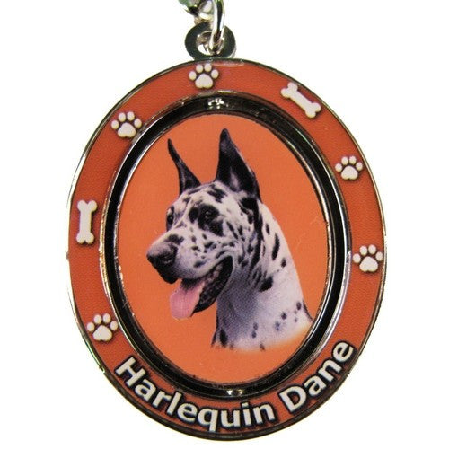 Spinning Great Dane - Harlequin, Keychain