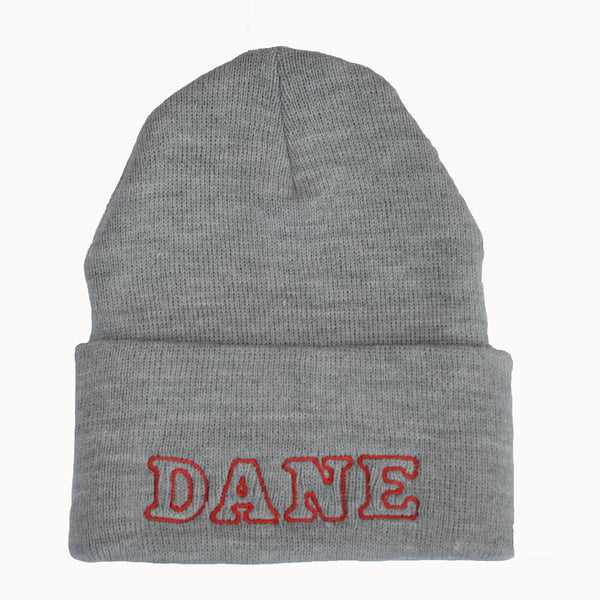 Adult Knit Beanie - DANE, gray & red
