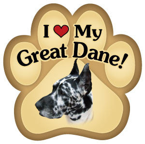 I Love My Great Dane Paw - Magnet