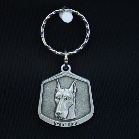 Great Dane Pewter Keychain