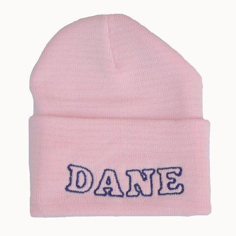 Adult Knit Beanie - DANE, pink & purple